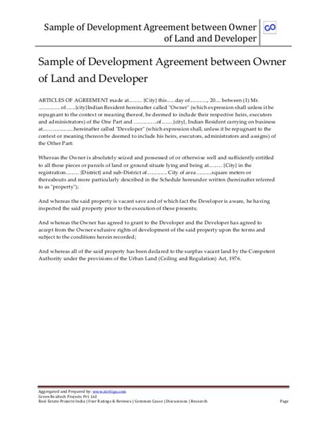 Agreement Letter Of Land Sle Of Development Joint Venture Agreement Between Owner Of Land A