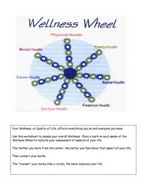 Wellness Wheel Worksheet by The World S Catalog Of Ideas