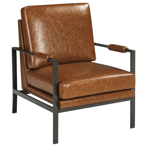 light brown leather accent chair signature design by peacemaker bronze finish