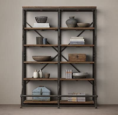 French Library Double Shelving Restoration Hardware Shelving