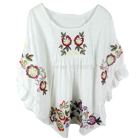 Blouse Retro Embroidery Shirt free shipping flowers cotton blouse vintage blouse embroidered peasant blouse white blouse