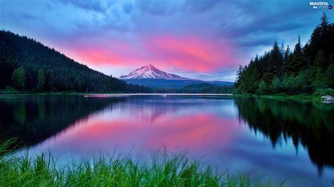 beautiful lake beautiful sky mountains pink sky lake beautiful views wallpapers