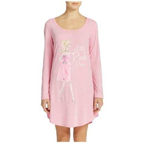 MATTEL BARBIE Adult L/S Knit Pink Sleep Shirt Night Gown