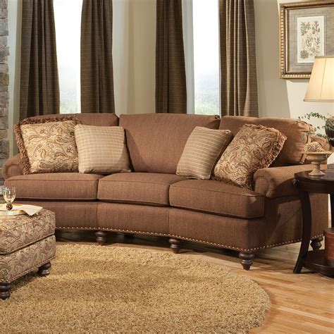 smith brothers conversation sofa curved conversational sofa with nailhead trim by smith