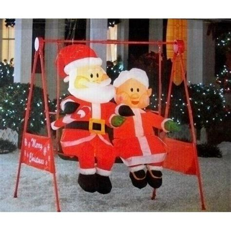 gemmy 6 inflatable santa in rv 87076 mrs claus porch swing animated home inflatables home