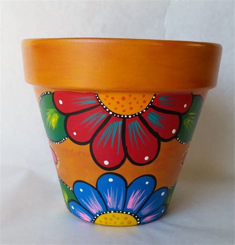 Pot Designs Ideas | pottery hand painted flower pot rustic flower pot