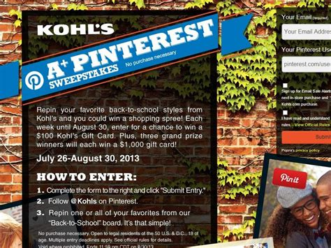 Pinterest Sweepstakes - kohl s a pinterest sweepstakes