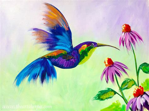 tutorial watercolor hummingbird hummingbird in flight with purple cone flowers acrylic on