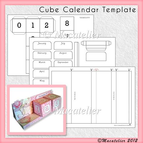 cube calendar template cu 163 3 60 commercial use scraps