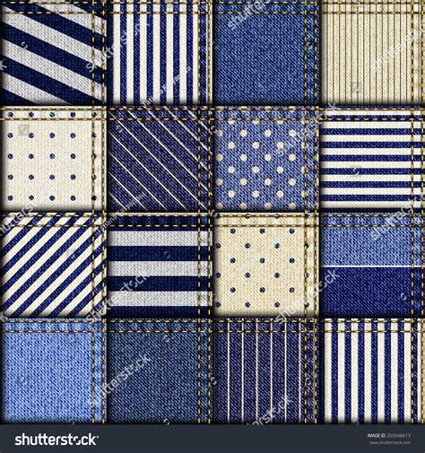 Patchwork Denim Fabric - seamless background pattern patchwork of denim fabric in