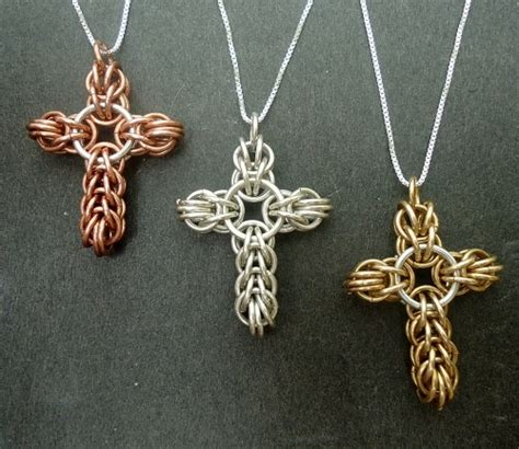 Handmade Chainmail - sterling silver cross necklace handmade