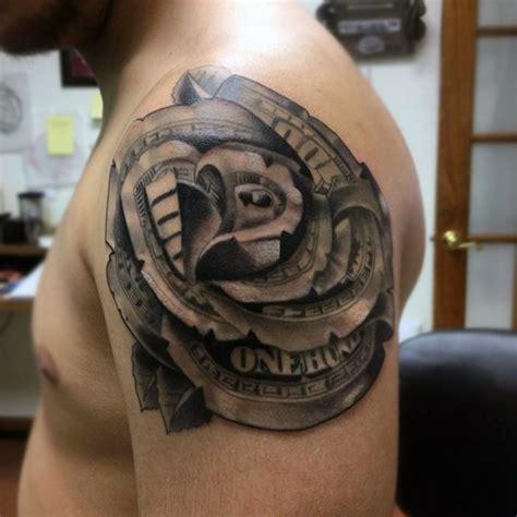 mens rose shoulder tattoo mens shoulder money tetk 243