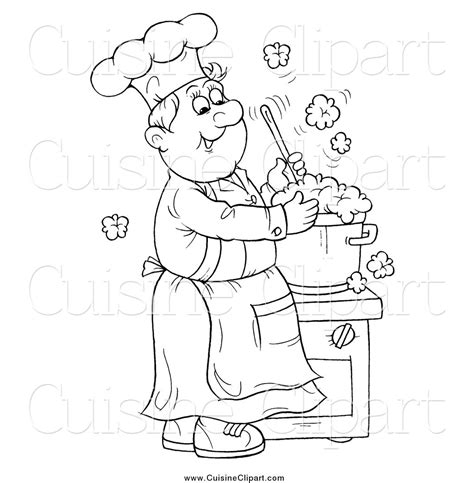 soup kitchen coloring page cuisine clipart of a black and white happy chef making