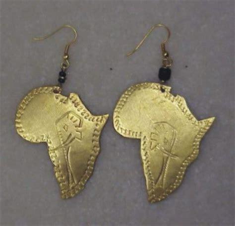 africa map jewellery brass map earrings