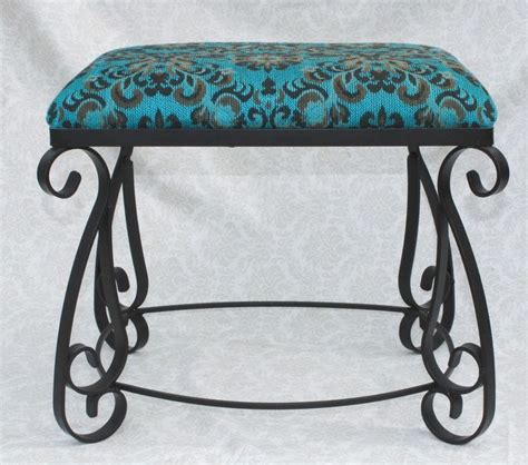 wrought iron vanity bench vintage wrought iron vanity stool bench spanish style