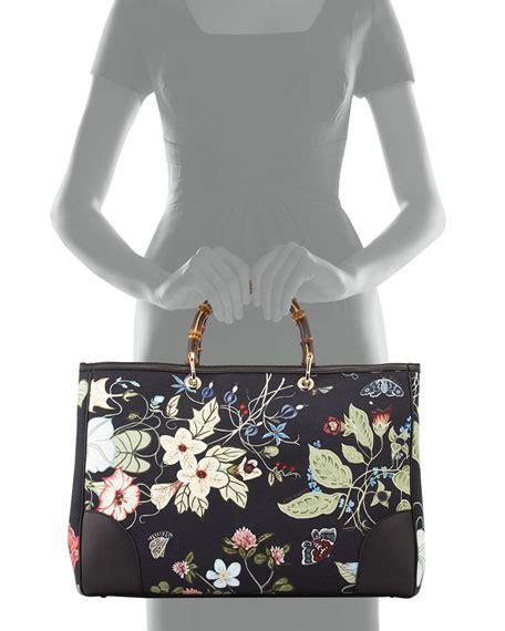 Floral Shopper Bag gucci bamboo floral tote shopper bag black