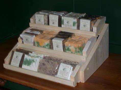 Handmade Soap Displays - three teir wooden handmade soap display holds 36 bars