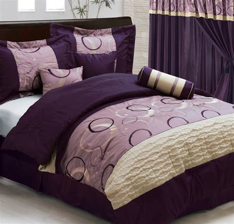 purple comforter set queen 7pcs queen purple circles and dots comforter set