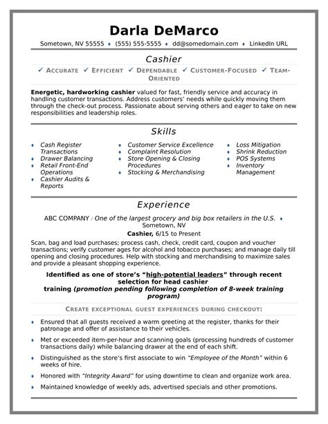 Cashier On Resume by Cashier Resume Sle