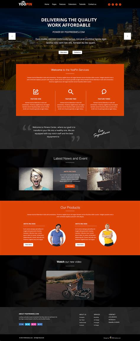 Yoopin Multipurpose Modern Website Template Free Psd Psdfreebies Com Modern Website Templates