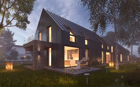 3d house building vray night lighting scene rendering modern house 3d model