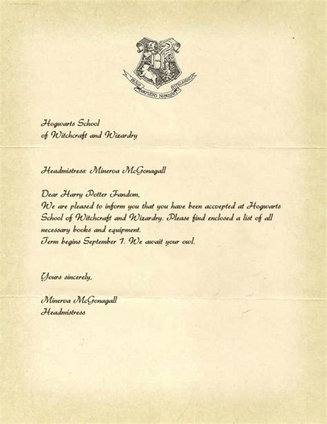 Free Job Seekers Resume by Hogwarts Acceptance Letter Template Jvwithmenow Com
