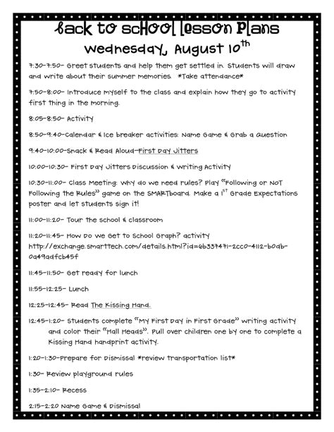 printable lesson plan for 1st grade printable lesson plan template for elementary school