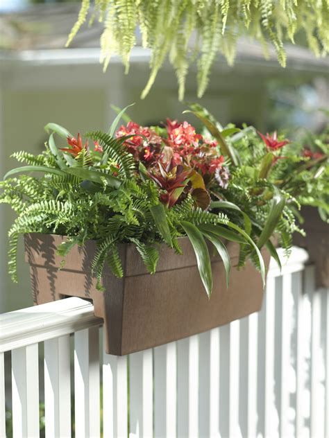 self watering planter deck railing planter for 2x4 or 2x6 railings