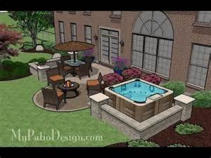 medium size patio ideas and designs with firepit tub