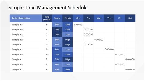 time management schedule template flat design timetable powerpoint template slidemodel