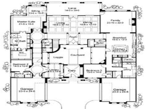 Style Home Plans With Courtyard by Mediterranean House Floor Plans Mediterranean House Plans