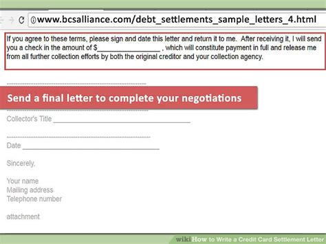 Credit Card Payment Confirmation Letter how to write a credit card settlement letter with pictures