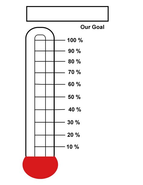 6 Best Images Of Printable Goal Thermometer Blank Goal Fundraising Thermometer Template Printable Thermometer Goal Chart