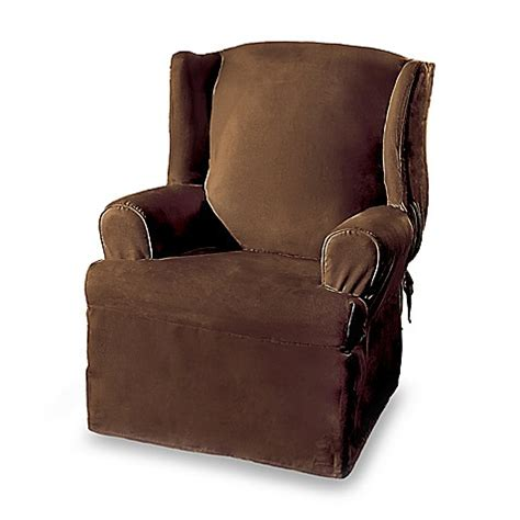 wing armchair covers sure fit 174 soft suede wing chair cover bed bath beyond