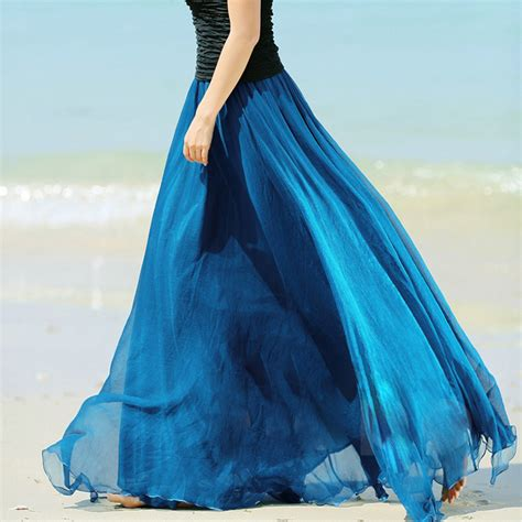 silk chiffon skirt high waist pleated vintage maxi