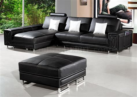 compact black leather modern sectional sofa w ottoman