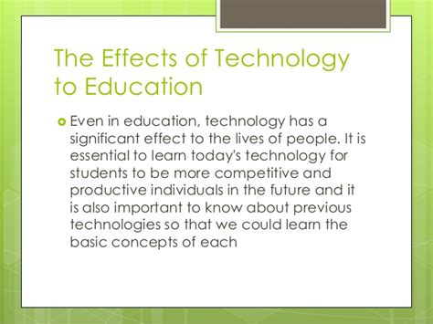 affect of modern technology on training technology the effects of technology in education