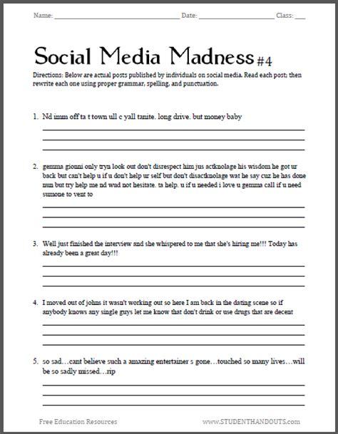 grammar worksheets junior high social media madness worksheet 4 fourth free printable