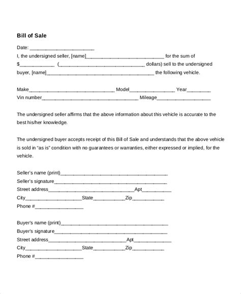 printable generic car bill of sale auto bill of sale 8 free word pdf documents download