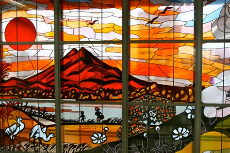 japanese glass a stained glass window at a station the japan