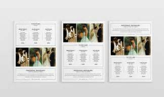 Double Sided Wedding Programs Modern Photography Price List Template Deals Infoparrot