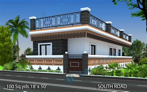 images of houses that are 2 459 square way2nirman 100 sq yds 18x50 sq ft south house 2bhk elevation view house plans