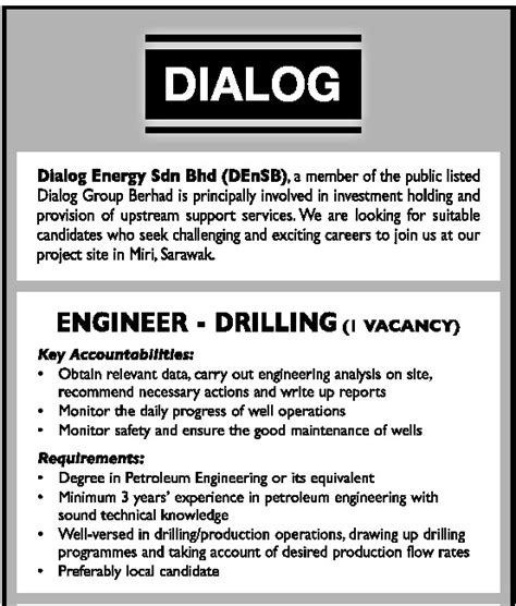 design engineer job vacancy selangor oil gas vacancies engineer drilling dialog miri