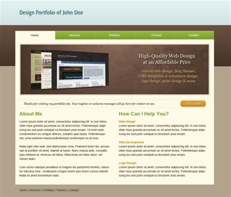 html templates free html css template clean folio web design
