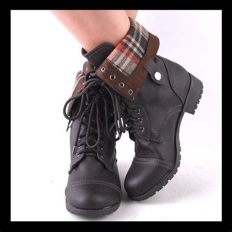 new womens brown midcalf laceup or fold combat boots