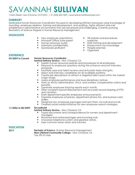 Resume Profile Sles For Human Resources Best Hr Coordinator Resume Exle Livecareer