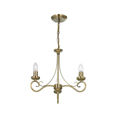 chandelier 3 light endon lighting 180 3an 3 light chandelier in antique brass endon lighting from the home