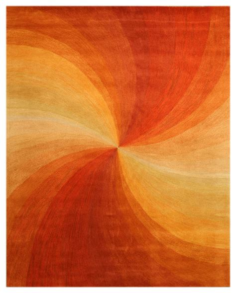 orange area rug with white swirls eorc tufted wool orange contemporary abstract swirl rug reviews houzz