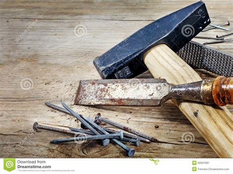 rustic woodworking tools tools on a background from rustic wood stock image