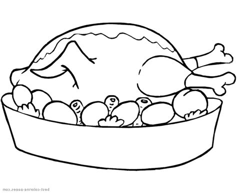 Roast Chicken Outline by Thanksgiving Dinner Table Clipart Black And White Clipartxtras